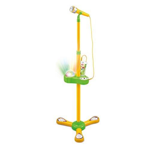 Kinder Mikrofon Spielzeug, Lommer Karaoke Stand Mikrofon einstellbare Musik Mikrofon Spielzeug mit Licht und Touch-Funktion (Gelb)