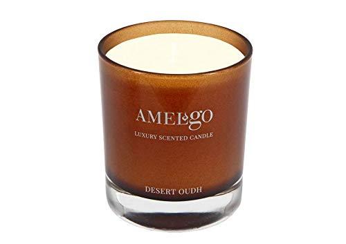 Amelgo Duftkerze - Vanille, Zitrone, Oud Holz und Sandelholz Duftkerze - Zitronenöl und Oudöl - Duftende und langlebige Kerze für Zuhause - Desert Oudh Candle by Amelgo - Jasmin-baumwoll-leinen