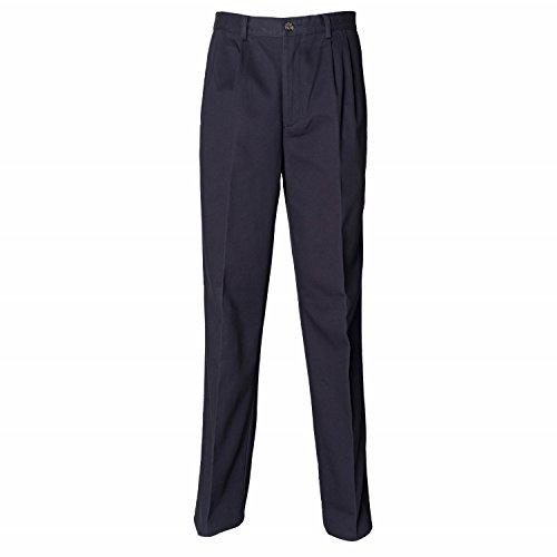 Henbury rivestito in Teflon, con pieghe-Pantaloni Chino pietra Medium