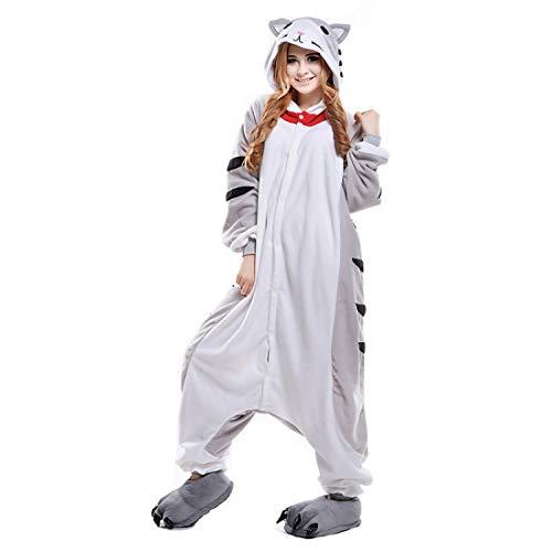 DUKUNKUN Erwachsene Pyjamas Katze/Chi Sweet Home/Käse Katze Pyjama Kostüm Weiß Cosplay Für Tier Nachtwäsche Cartoon Halloween (Käse Kostüme)