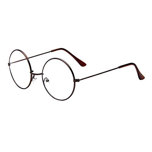 CANDLLY Brille Damen, Mode Oval Runde klare Linse Brille Jahrgang Geek Nerd Retro Style Metal Brillenspiegel flacher Spiegel Gezeitenglasrahmen Brillen Zubehör(Braun,One Size