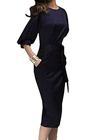 Damen Bleistiftrock 3/4-Arm Midi Kleider Cocktaikleid Partykleid Abendkleid Tunikakleid Ballkleid Schrittrock Sommerkleid (EU42,