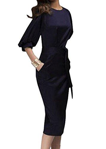 Damen Bleistiftrock 3/4-Arm Midi Kleider Cocktaikleid Partykleid Abendkleid Tunikakleid Ballkleid Schrittrock Sommerkleid (EU38, Dunkelblau)