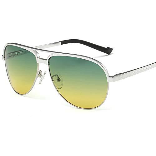 Herren Sonnenbrille Tag und Nacht Dual-Use Polarizer Driving Glasses Sonnenbrille mit großem Gestell Nachtsicht Anti-Fernlicht (Farbe: Silber)