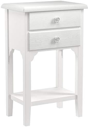 Mesilla de estilo shabby chic blanca con dos cajones y un estantePreciosa mesilla de madera DM decorada con tiradores con diseño de rosa de resina.Dimensiones:37 x 26 x 70 cm.