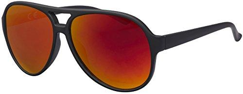 La Optica UV 400 Herren Retro Sonnenbrille Pilotenbrille Fliegerbrille - Einzelpack Gummiert Schwarz (Gläser: Rot verspiegelt)