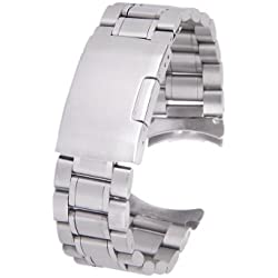 Solid Stainless Steel Links Watch Band Strap Curved End Deployment Buckle 22mm---Silver