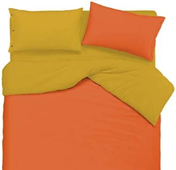 R.P. Parure Copripiumino BiColoreeee Personalizzabile 22 Coloreei - Made Made - in  Cotone Trama fitta - 2 piazze. Letto Matrimoniale - ArancioGiallo 5ee5a5