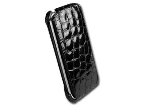 Prestigio Ledertasche für Apple iPhone 3G schwarz (Croc-klappe)