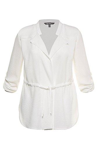 Ulla Popken Femme Grandes Tailles Veste de Tailleur Blazers Costume Noir Manches Longues Col V Slim 715096 Blanc Cassé