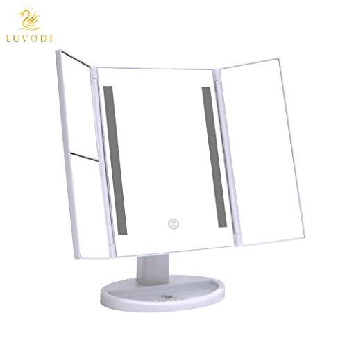 LUVODI Kosmetikspiegel Schminkspiegel 3 Seiten Make-up-Spiegel Rasierspiegel Touchscreen mit 36 LED-Beleuchtung faltbar dimmbar 180° einstellbar Drehung 1X 2X 3X Vergrößerungsspiegel mit USB Kabel Tischspiegel Standspiegel,Weiß