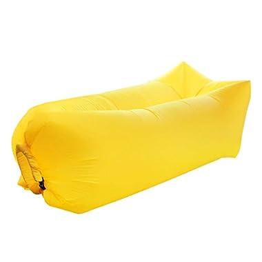 WY Aufblasbare Couch Aufblasbare Liege Luftliege Outdoor Faul Aufblasbares Sofa Tragbares Luftschlafsofa Haushaltsluftkissen Bettlaken Menschen Blasen (Color : Yellow, Size : 185 * 75 * 50CM)