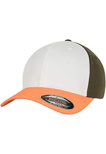 Trucker Olive (Flexfit 3-Tone Baseball Cap, Neonorange/White/Olive, S/M)