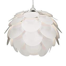kwmobile DIY Puzzle Lampe Blüten Design - Lampenschirm Set mit Deckenbefestigung 90cm Kabel E27 Fassung - Puzzlelampe Schirm Deckenleuchte in Weiß