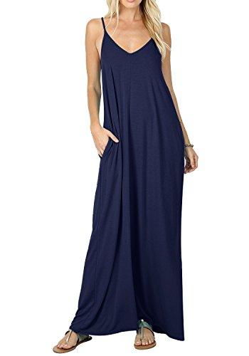 Bequemer Laden Strandkleid Damen Sommer Casual Plain Swing Maxi Sommerkleid Kleider Navy Blau XL