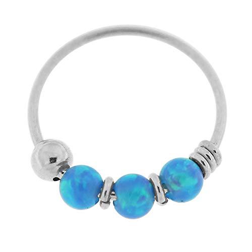 9K Weißgold Triple Blue Opal Bead 22 Gauge Hoop Nase Piercing Ring Schmuck