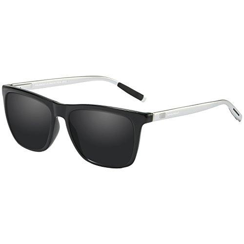 WHCREAT Unisex Retro Polarisierte Sonnenbrille Vintage Mode Design Fahren Ultraleicht Spiegel Linse für Herren und Damen - Silberne Arme Schwarze Linse