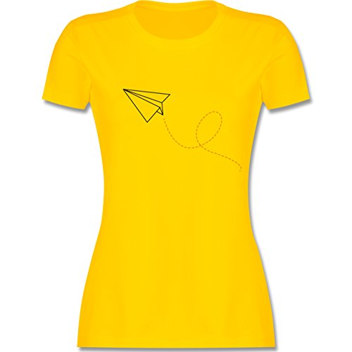 Shirtracer Symbole - Papierflieger - Damen T-Shirt Rundhals Gelb