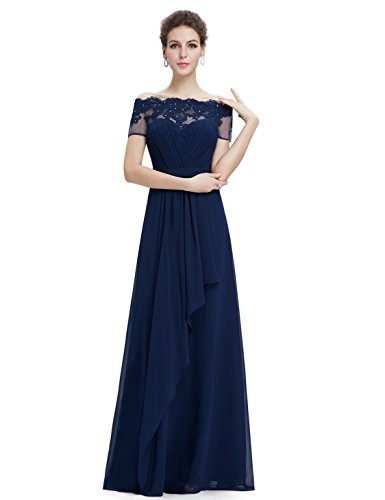 Ever Pretty Robe de cocktail Longue et le buste en ruche 08490 Bleu Marine
