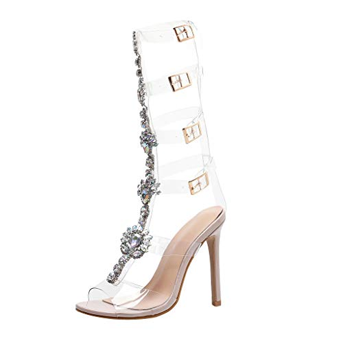 Damen Sommerschuhe Plateau Gladiator Shoes Leopard Diamant Hochzeit Roman Sommer Sandalen Schnalle Gurt Schuhe Hohe Flip Flops Elegant Absatz Open Toe Shoe Anti Rutsch Hausschuhe Party Strand (Hochzeits-strand-sandalen)