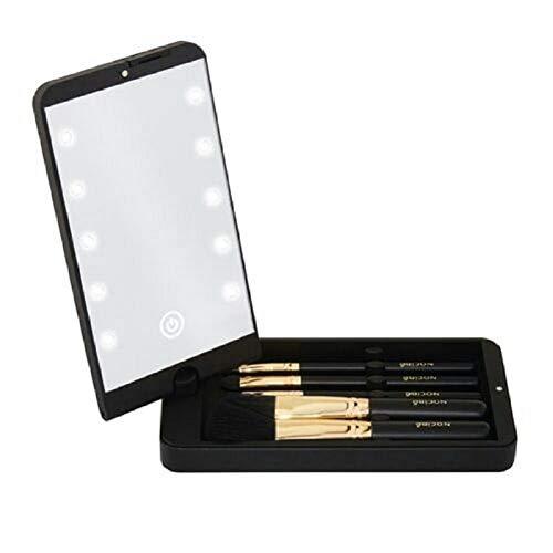 ZHEJIUFA Tragbarer Schminkspiegel - Faltbarer LED-Schminkspiegel mit Aufbewahrungsbox für Schminkpinsel - Kleine Taschen-Miniaturspiegel Ideal für Reisebrieftaschen (Schwarz)