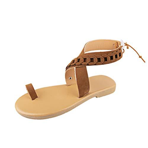 Damen Sommer Bohemian Strand Schuhe Damenmode Casual Rom KnöChelriemen Wohnungen Open Toe Schuhe ()