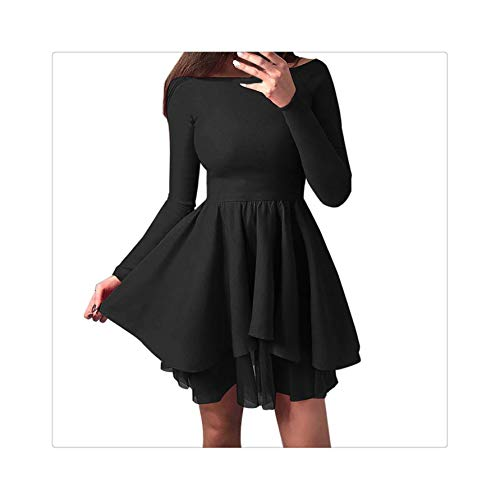 Dress Women Party Nigh Black Solid Party Mini Dress Long Sleeve Off Shoulder Sexy Dresses Sexy Elegant Women Clothes 2019 Black XL