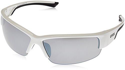 Uvex Erwachsene Sportsonnenbrille Sportstyle 215, White Black/Lens Litemirror Silver, One Size, 5306178216