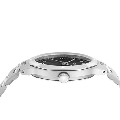 M-Watch Unisex Quartz Watch with Black Dial Analogue Display and Silver Stainless Steel Bracelet WRT.47220.SL