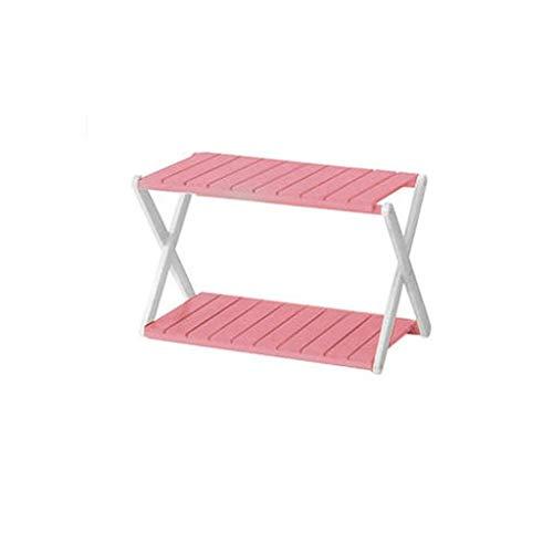 Leiter Regal Wohnzimmer, Bücherregal Display Rack Storage Organizer Faltbare Einfach, Büro Wohnzimmer Zu Montieren (Color : Pink, Size : 58.5x32x38.5cm) -