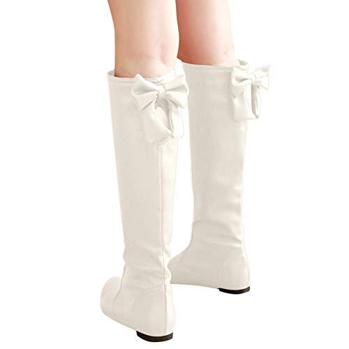 TianWlio Stiefel Frauen Herbst Winter Schuhe Stiefeletten Boots Warme Feste Erhöhung Metall Retro Stiefeletten Runde Zehen Schuhe Weiß 37