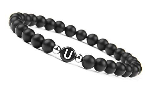GOOD.designs Namenarmband aus schwarzen Onyxsteinen mit Buchstabenperlen von A-Z , Freundschaftsarmband für deine Liebsten (Buchstabe U)