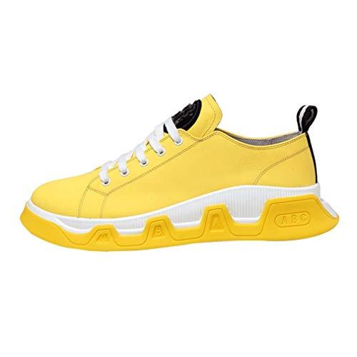 YAN Herren Freizeitschuhe, Mode Leder Niedrige Sneakers Atmungsaktive Wanderschuhe Fitness & Cross Trainingsschuhe Schwarz Weiß Gelb (Farbe : EIN, Größe : 42)