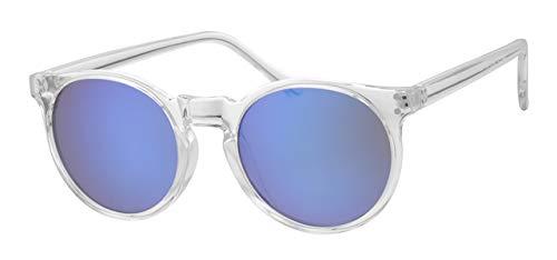 Eyewear World Runde Sonnenbrille, transparenter Rahmen, Blaue verspiegelte Gläser, Metallscharniere, gratis gelbe Kordel