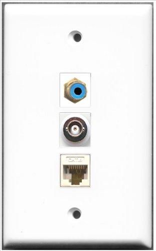 RiteAV-1Port RCA blau und 1Port BNC und 1Port Cat6Ethernet weiß Wall Plate Decora Insert Flush