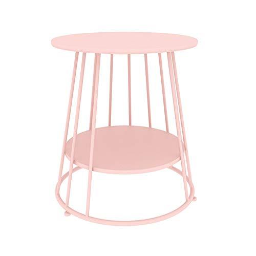 Xyanzi kaffeetische Beistelltisch , Sofatisch Kleine Runde Beistelltische Metalloptik Moderne Studio-Kollektion Akzentmöbel für Schlafzimmer Wohnzimmer (Color : Pink, Size : Two Floors) -
