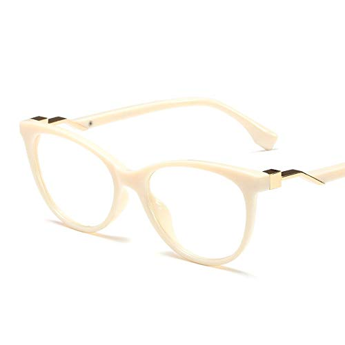 Duhongmei123 Mode Brillen Mode lässig Mode klare Linse Brillengestell, Metall Tempel. Occhiali (Farbe : Beige)