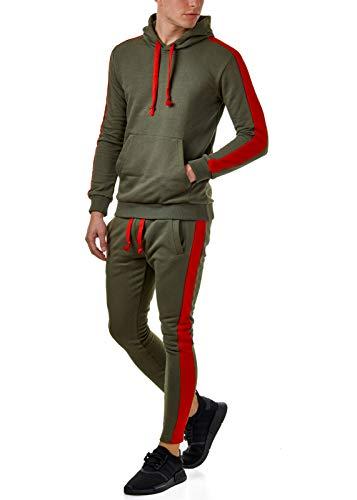 EightyFive Herren Jogging-Anzug Trainingsanzug Schwarz Khaki Rot Blau EFS5047, Größe:M, Farbe:Khaki