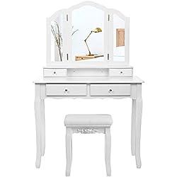 SONGMICS Grande Coiffeuse, Table de Maquillage, avec Miroir à 3 Volets, 4 tiroirs et 1 Tabouret, Style champêtre, Blanc, RDT07W