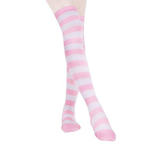 HABI 1 Paar Gestreifte blau rosa & weiß Kniestrümpfe Damen über Knie-Lange Overknee Überknie Strümpfe cosplay Kostüm (1) -