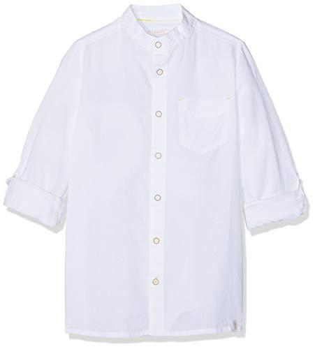 Leinen Woven Shirt (ESPRIT KIDS Jungen Woven Shirt Hemd, Weiß (White 010), 140 (Herstellergröße: S))