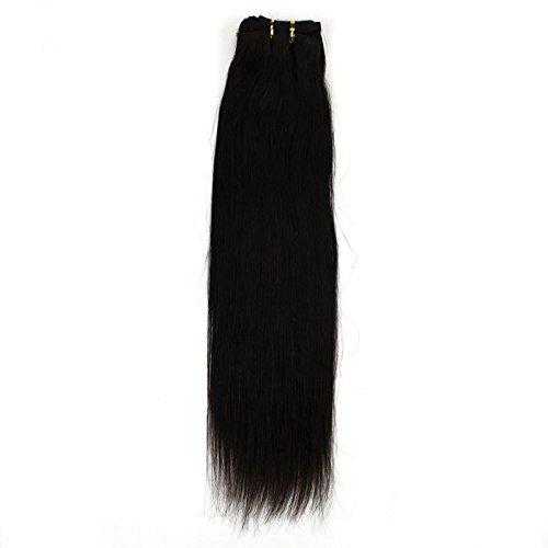 40,6 cm pouce (40 cm) 5 A droite cheveux non traités brésiliens vierges cheveux trame de cheveux remy cheveux européenne Extension de cheveux droite # 1 noir naturel