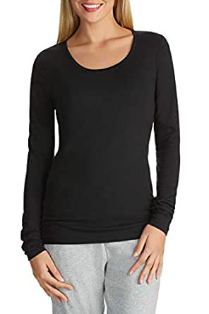 4a4335ab51503 Womens Long Sleeve Stretch Plain Round Scoop Neck T Shirt Top Ladies Fitted  Tee (Black