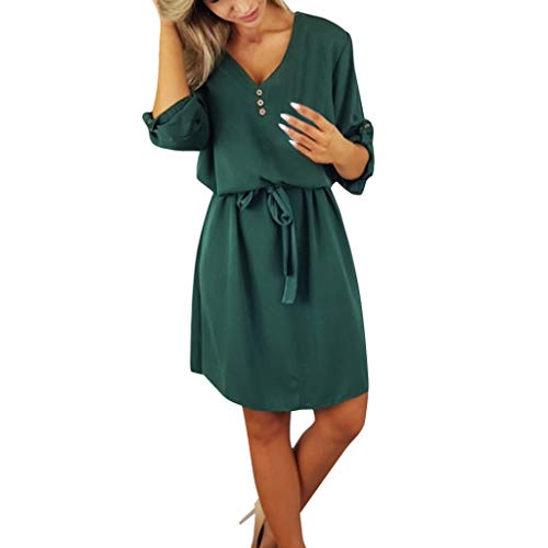 ng Sommer Rock Bequem Lässig Mode Kleider Frauen Röcke beiläufiges festes Design knöpft halbes Hülsenkleid-Sommerkleid(Grün, M) ()