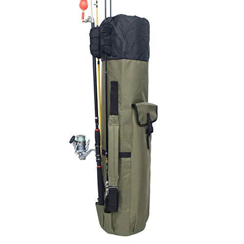 Ardermu sacca per canna da pesca - borsa per canna da pesca - oxford alta capacità fishing pole carry organizer borsa - sacca per canna da pesca - borsa per borsone da pesca (verde militare)