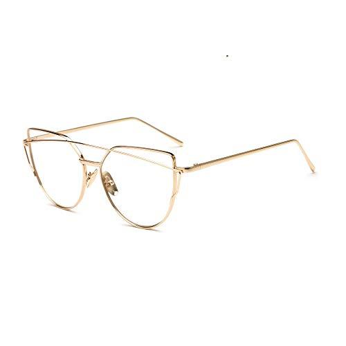YYXXZZ Sonnenbrillen Cat Eye Sonnenbrille Frauen Twin-Beams Metall Flat Panel Frame Sonnenbrillen Spiegel Brillen, Jin Ming