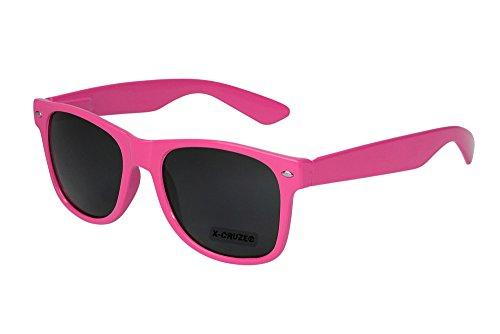 X-CRUZE® 8-006 X0 Nerd Sonnenbrille Retro Vintage Design Style Stil Unisex Herren Damen Männer Frauen Brille Nerdbrille - pink