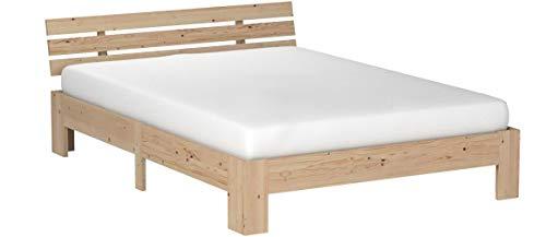 ModernLuxe Massivholzbett in Buche Doppelbett 140 x 200 cm Holzbett Balkenbett Bettgestell mit Kopfteil und Lattenrost, als Seniorenbett geeignet, Komfortbett mit Rückenlehne (Natur)