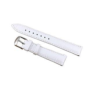 12-22mm weiß Deluxe Leder Damenuhrenarmband Ersatz gepolsterte Alligatorprägung echte Kalbsleder