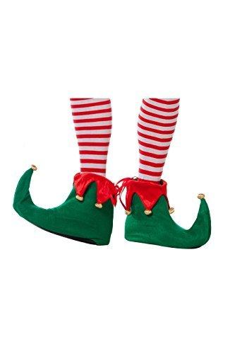 Unbekannt Elfen-Schuhe mit Glöckchen Wichtel grün-rot-Gold Einheitsgröße (Buddy Elf Für Erwachsenen Kostüm)